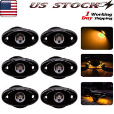 Amber Led Rock Lights w/6Pods Light For Jeep Offroad Truck Utv Atv 4X4 Underbody