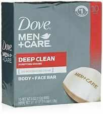 10 BARS Dove Men + Care Body and Face Bar Soap Deep Clean for healthier skin