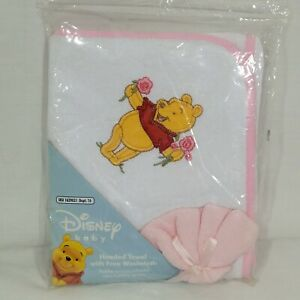 Winnie the Pooh Hooded Towel w/ Washcloth White Pink Trim Disney Baby NIP