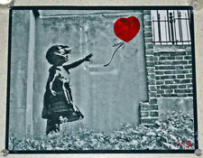 Banksy - Girl With Balloon - B&W 50x40cm photo- hand coloured-Signed & Numbered