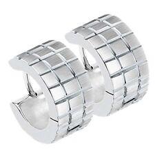 1 Par Acero joyas pendiente de Aro plata Creole REJILLA Cepillado mate