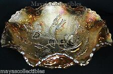 """VINTAGE OPEN ROSE CARNIVAL GLASS RUFFLED BOWL 9"""" IMPERIAL"""