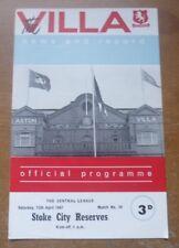 Aston Villa v Stoke City, 1966/67 - Central League (Reserves) Programme