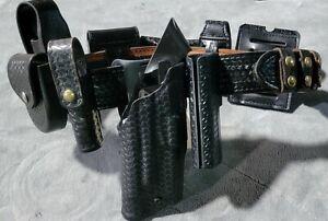 Safariland Glock 19,23 Duty Belt Basketweave Belt Size 32-36 With All Pouches RH