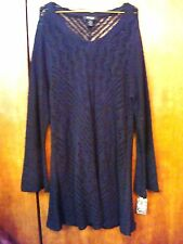 NWT PLUS SZ 2X STYLE AND CO. BLACK OPEN KNIT V-NECK TOP