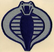 "GI Joe Cobra Commander  Large 6"" Silver & Navy Blue Embroidered Iron-On Patch"