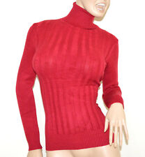 PULL-OVER ROUGE femme maillot manches longues cou haut roulé chandail pulover G2