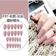 24Pcs/Set Acrylic Full Cover Fake Nail Finger Tips Long False Nails Art Hot