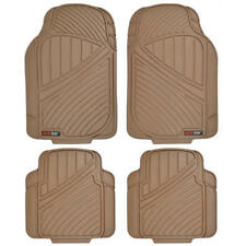 All Weather Rubber Car Floor Mats with Dirt Trapping Channels - Beige Tan