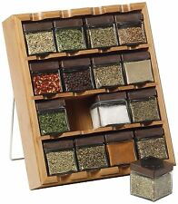 Kamenstein Bamboo Inspirations 16-Cube Spice Rack with Free Spice Refills for...