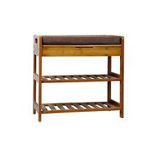 C&AHOME Bamboo Shoe Rack Bench, 3-Tier Free standing Shoe Storage Shelf