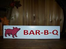 PIG BARBECUE PAINTED WOODEN SIGN MAN CAVE COUNTRY WESTERN FOOD BAR HOME DECOR