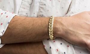 Men's 11MM Cuban Chain Bracelet in 14K Gold over Brass or Stainless Steel New