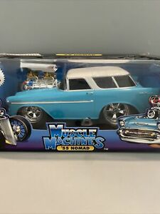 Muscle Machines 1/18 Blue 1955 Chevy Nomad Hot Rod DieCast Model Car Too Cool