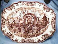 Wedgwood His Majesty Turkey Platter Williams-Sonoma Brown Transferware 20in.