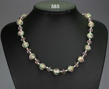 Glass bead necklace, inner pink roses detail, baby pink crystals, silver spacers