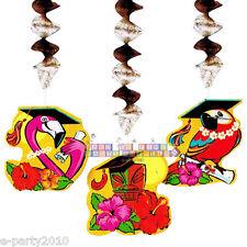 GRAD IN PARADISE DANGLING DECORATIONS (3) ~ Graduation Party Supplies Flamingo