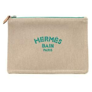 Authentic HERMES New yotting pouch Toile H Beige Green logo