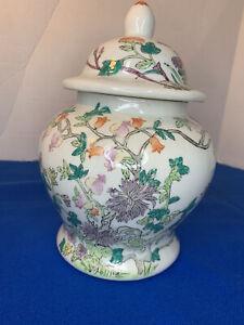 Vintage Chinese porcelain lidded urn temple ginger jar flowering trees 10in