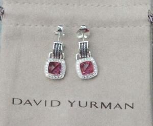 David Yurman Sterling Silver 7mm Albion Pink Tourmaline & Diamonds Drop Earrings
