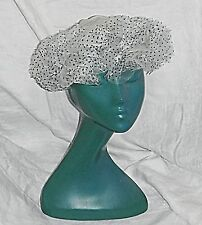 FRENCH 60S PLASTIC NET FRILLED HAT OFF WHITE WITH BLUE POLKA DOTS GORGEOUS CHIC