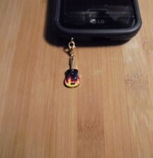 Guitar Flames Cell Phone Clip Charm Gold~Dust Plug Cover~Free Ship