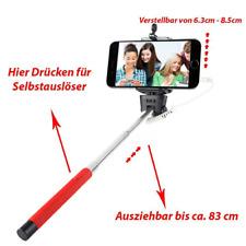 IOS & Android Selfie Stick Selbstauslöse für iPhone Samsung Halterung Halter Rot