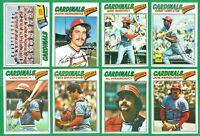 1977 TOPPS ST LOUIS CARDINALS TEAM SET NM   BROCK  HERNANDEZ  HRABOSKY  SIMMONS