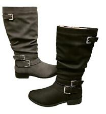 WOMENS BUCKLE ZIP UP LOW HEEL MID CALF UNDER KNEE LADIES BOOTS SHOES