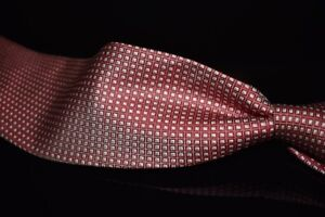 Brooks Brothers Makers Italian Silk Ruby Red White Cube Woven Grid USA Made Tie