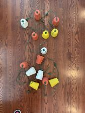 2 Vintage Sets Blow Mold Bamboo Party String Lights 14 Lanterns Camper Patio