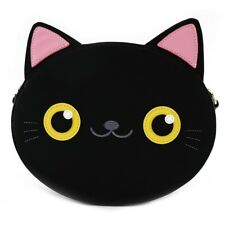 BRAND NEW CHATEAU Black Cat Face w// Faux Fur Cross Body Shoulder Handbag Purse