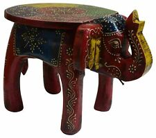 Indian Handmade Hand painted Colorful Wooden Elephant Stool Wood Footstool table