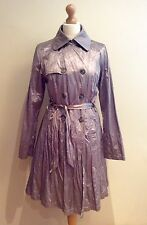 SANDWICH COAT SIZE 14 SILVER TRENCH STYLE CRINKLE FABRIC BUTTON BELT COTTON MIX