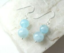 ".925 Sterling Silver Earrings 1 1/2"" Aquamarine Blue 8mm & 10mm Ball Gemstone"