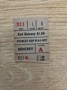 1948 Stanley Cup Playoffs Detroit Red Wings New York Rangers Ticket Gordie Howe