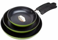 Green Earth Frying Pan 3 Piece Set by Ozeri 8 10 12 with Textured Ceramic Non