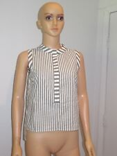 Milly Womens Striped Sleeveless Button Top Blouse Small