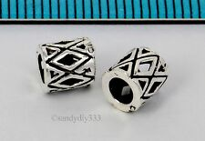 4x BALI OXIDIZED STERLING SILVER DIAMOND TUBE CORD SPACER BEADS 5.8mm #2600
