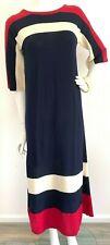 Vintage Rodier Paris Knit Dress Midi Color Block Wool Blend Sweater M-L Vguc