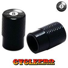 2 Black Billet Knurled Tire Valve Cap Motorcycle - 8 BALL - 015