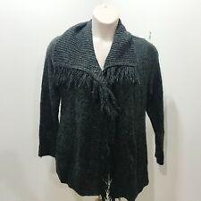 89th MADISON Size 1X Cardigan Sweater Dark Gray Open Front Plus Size Fringe