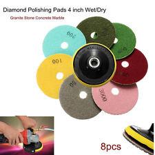 """8Pcs/Set Diamond Polishing Pads 4"""" Wet/Dry Set For Granite Stone Concrete Marble"""