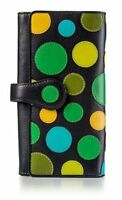 Visconti P2 Soft Womans Black Multi Colored Leather Wallet Purse with Polka Dots