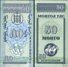 MONGOLIA 50 MONGO 1 UNC BANK NOTE for coin note collector # L 2