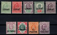 G139522/ BRITISH LEVANT – Y&T # 12 / 15 - 20 - 26 - 31 - 33 / 34 MINT MH