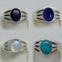 10x8mm OVAL GEMSTONE CABOCHON SILVER PLATED ADJUSTABLE RING 4 STONES TO CHOOSE