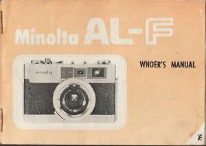 Vintage Minolta AL-F Error Camera Manual Instructions Booklet Guide FREE POST