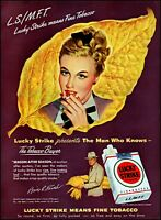 1948 woman smoking Lucky Strike cigarettes tobacco vintage art print ad adL61