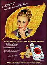 1948 woman smoking Lucky Strike cigarettes tobacco vintage art print ad adL61